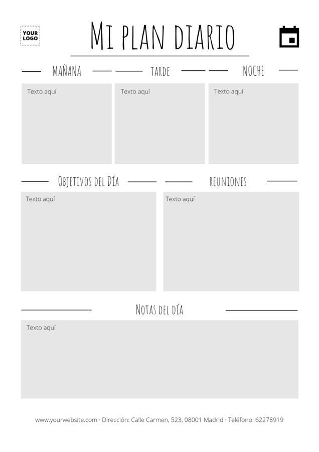 Edita un planificador diario