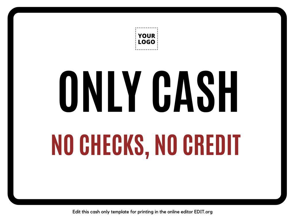 Edit an only cash sign