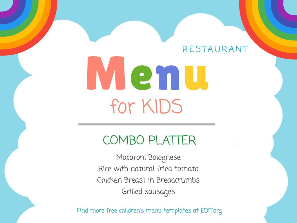 Kids menu templates for cafes and restaurants