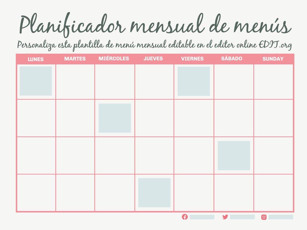 Edita un planning de comidas mensual