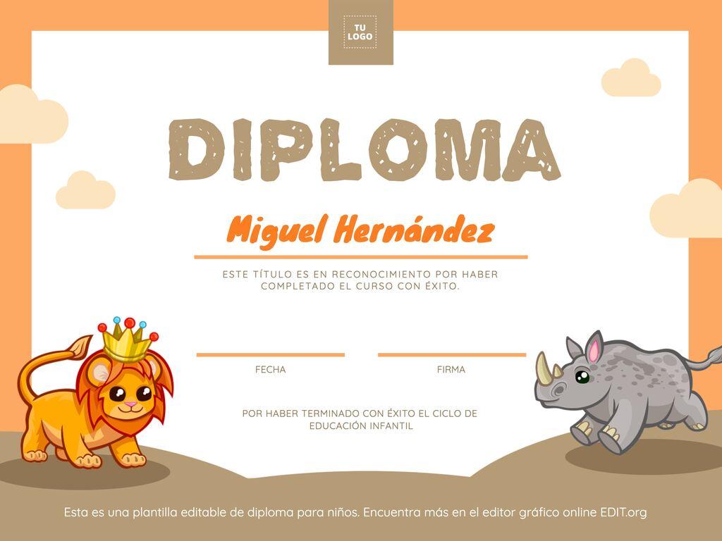Edita un diploma para niños