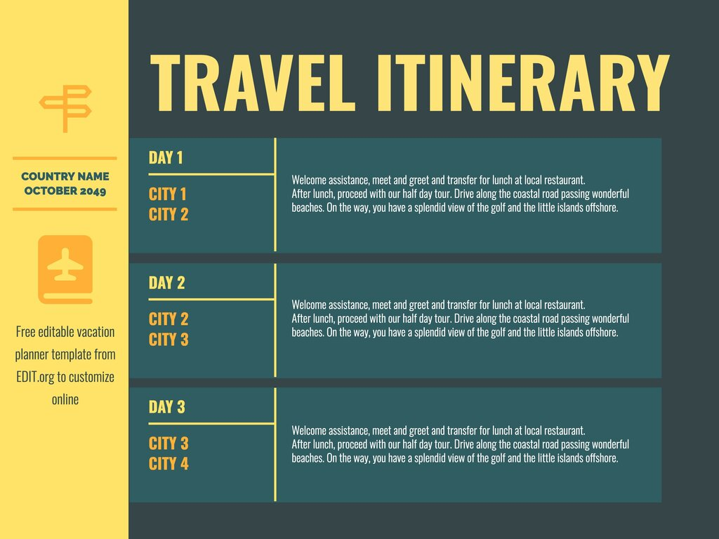 Edit a travel itinerary