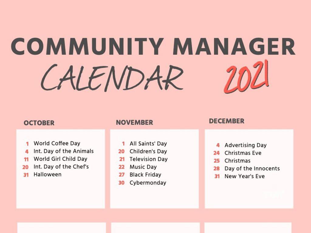 Community manager calendar for 2021