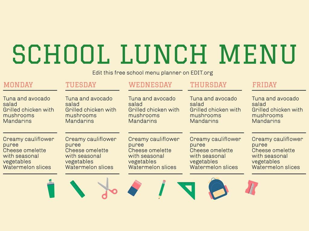 Edit a school menu