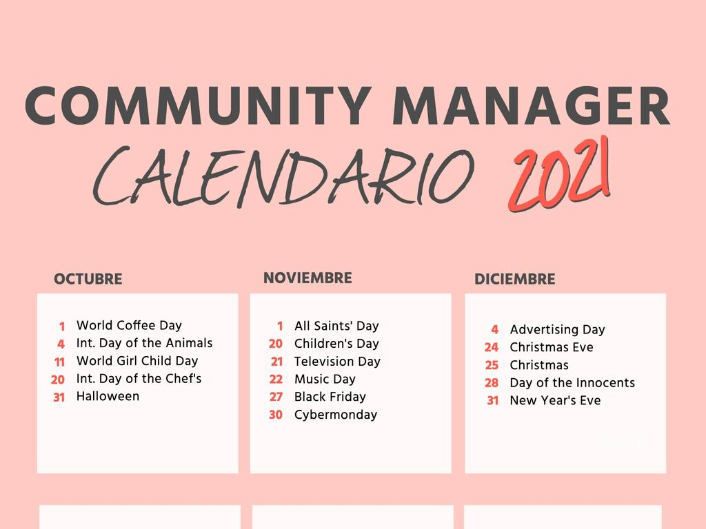 Personaliza tu calendario de Community Manager