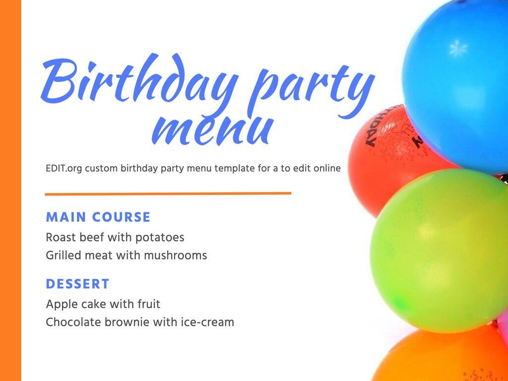 Edit a birthday menu template