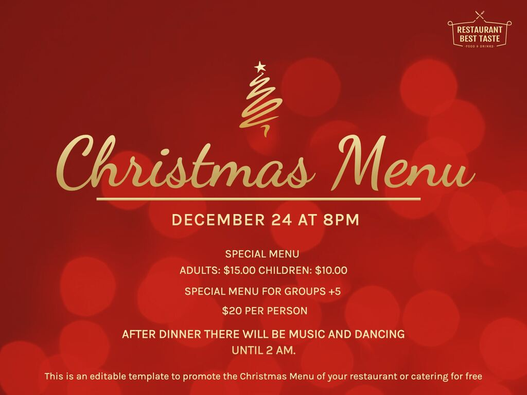 Edit a Christmas Menu template