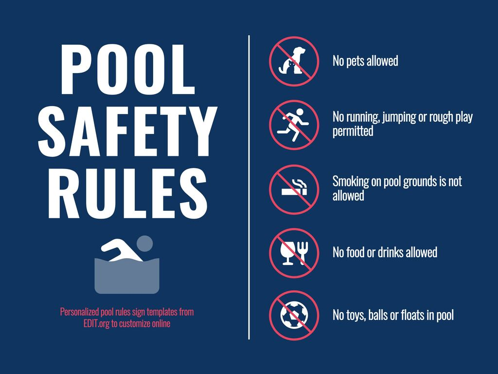 Edit a sign for swimming pool rules