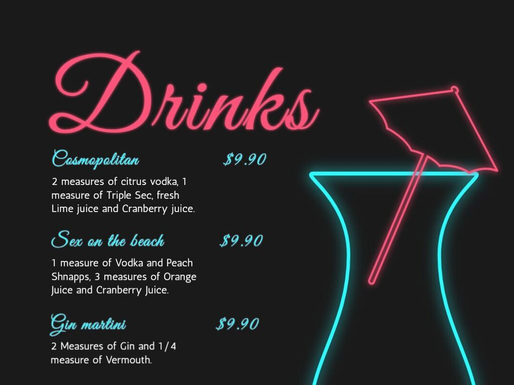Templates for a drink menu