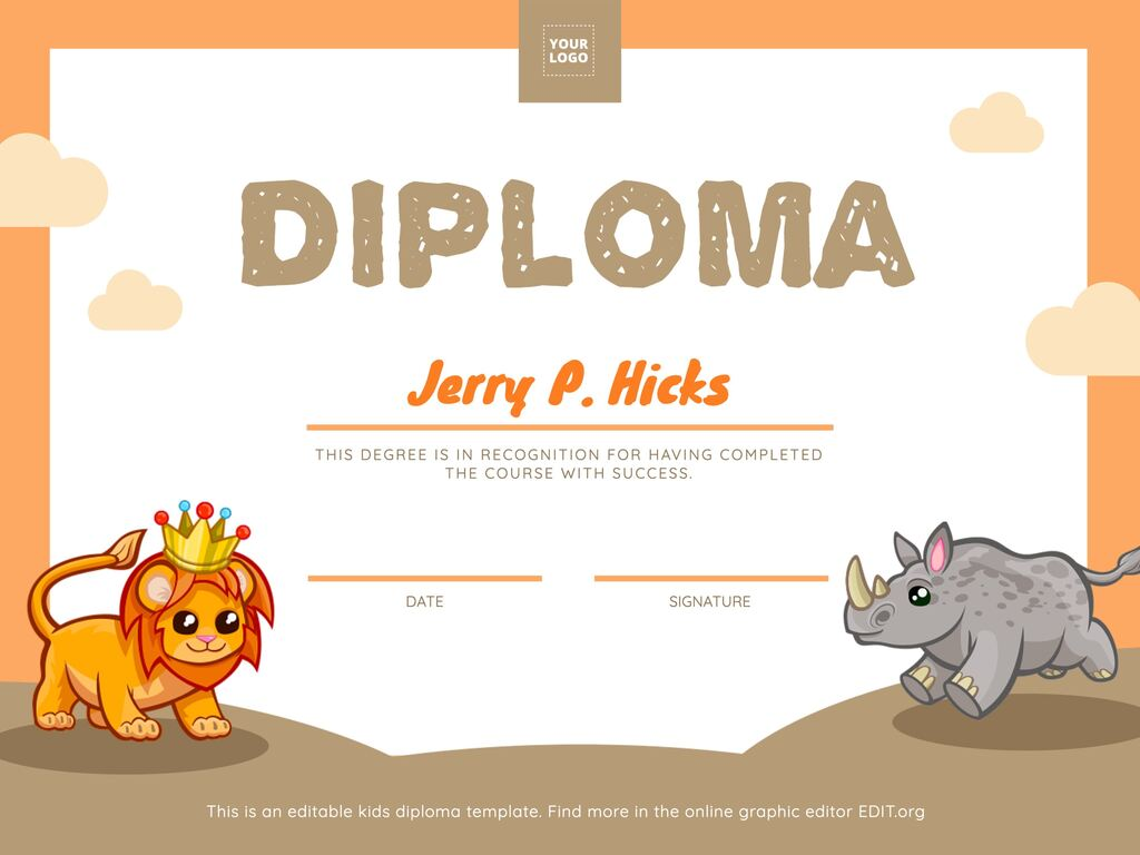 Edit a diploma for kids