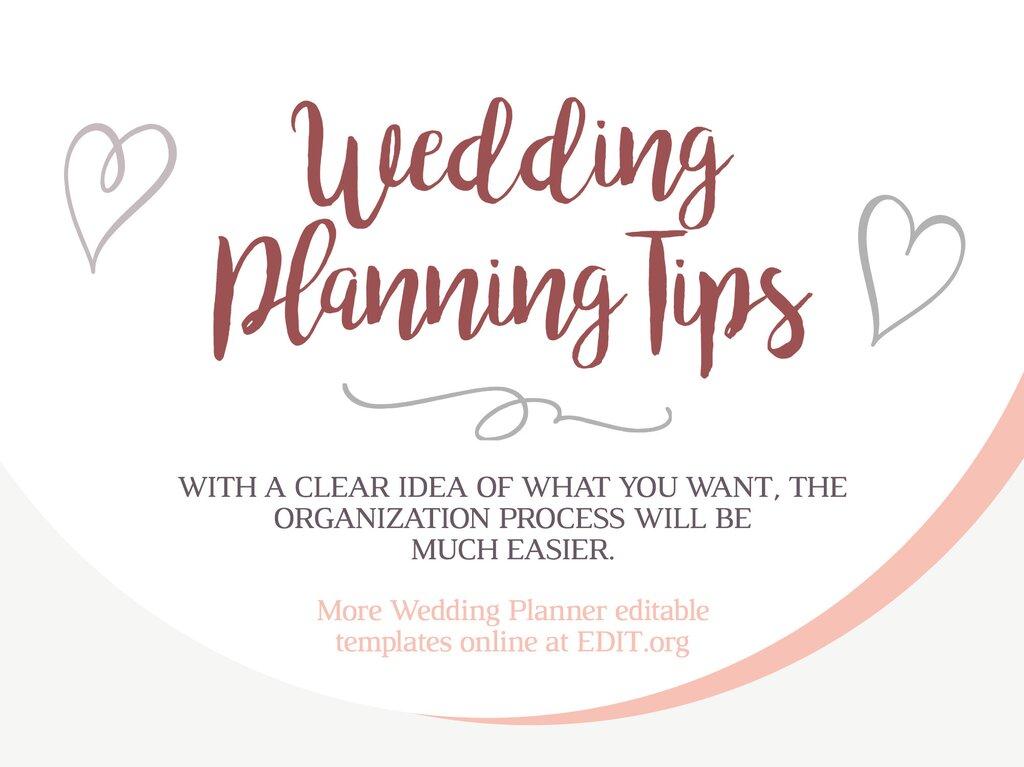 Edit a wedding planner template