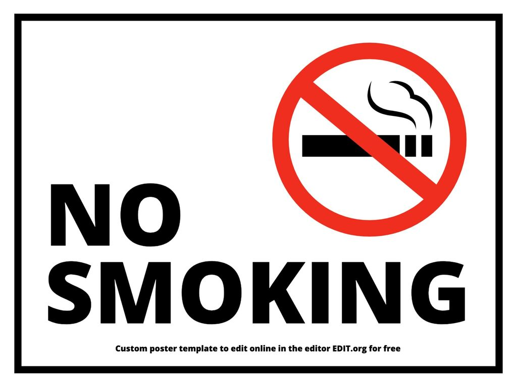 No smoking online custom poster templates