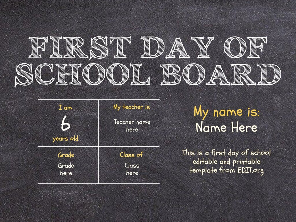 Edit a first day of school sign