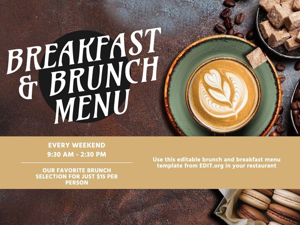 Edit a brunch and breakfast menu