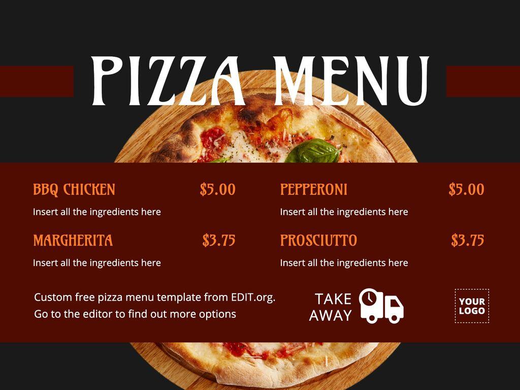 Edit a pizza menu template