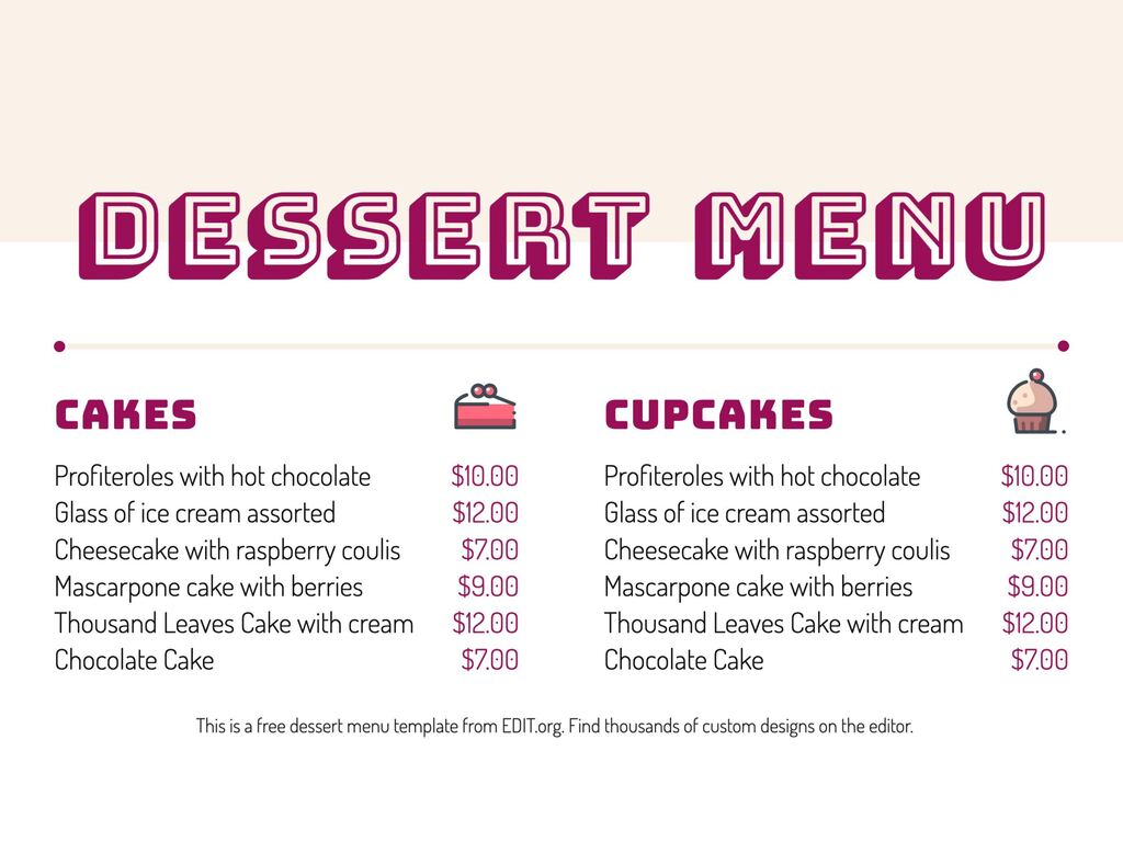 Edit a dessert menu template