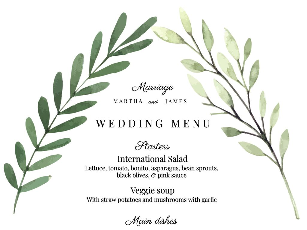 Wedding menu templates and cards
