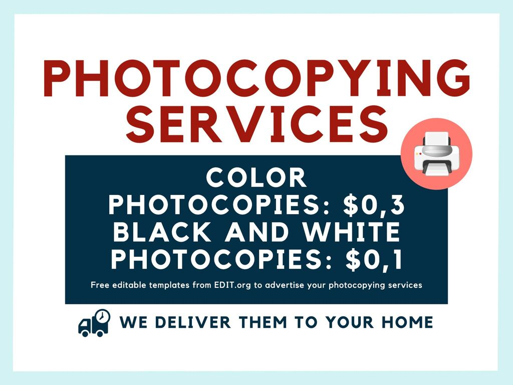 Edit a sign for photocopying and printing