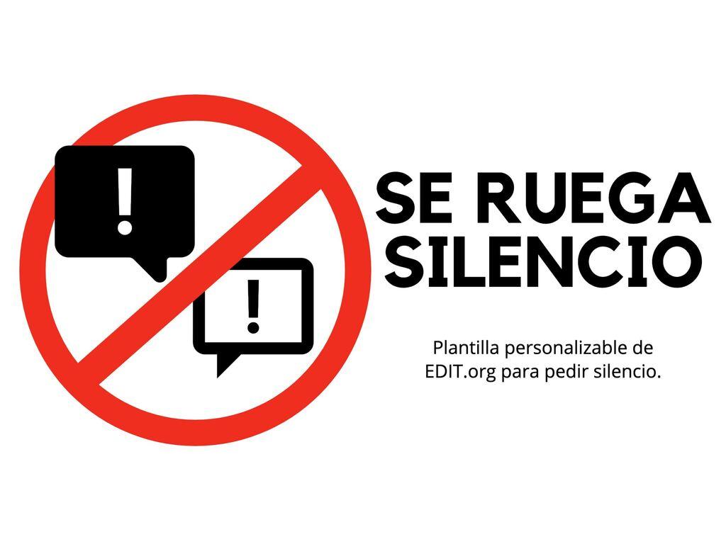 Edita un cartel de silencio