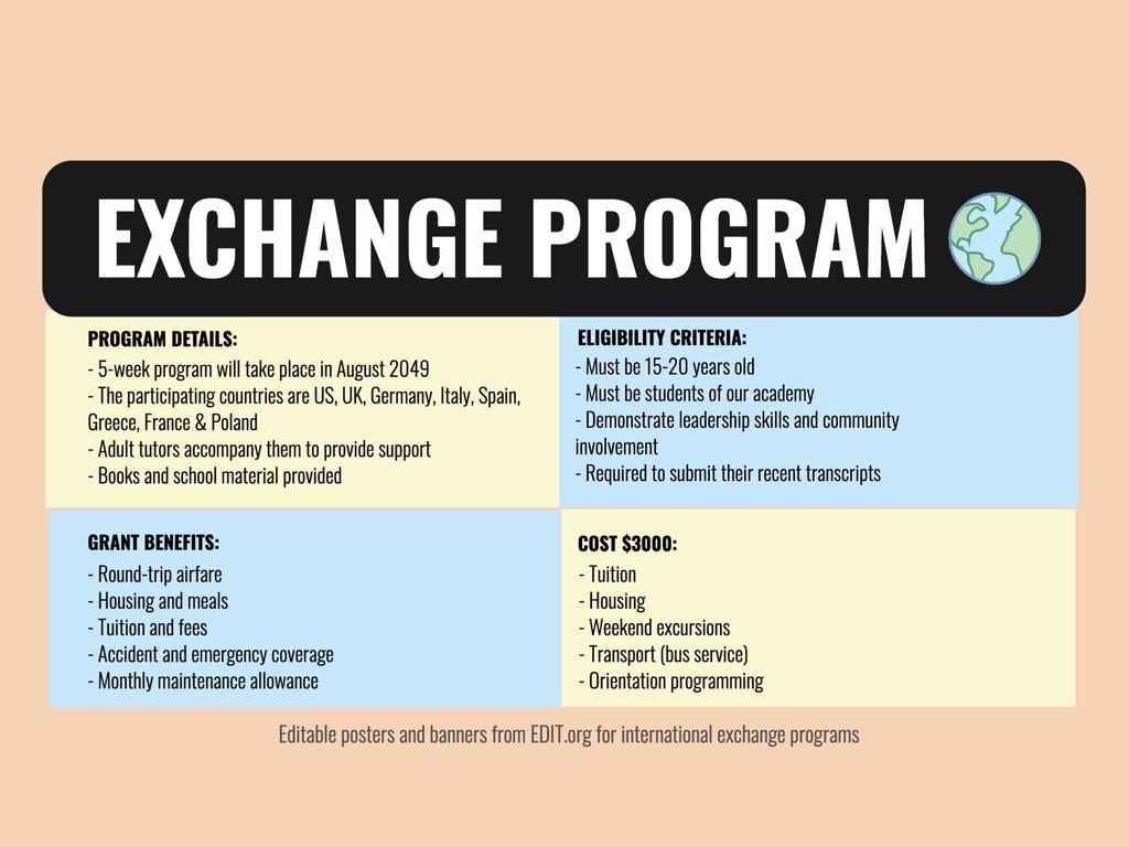 Edit an exchange program template