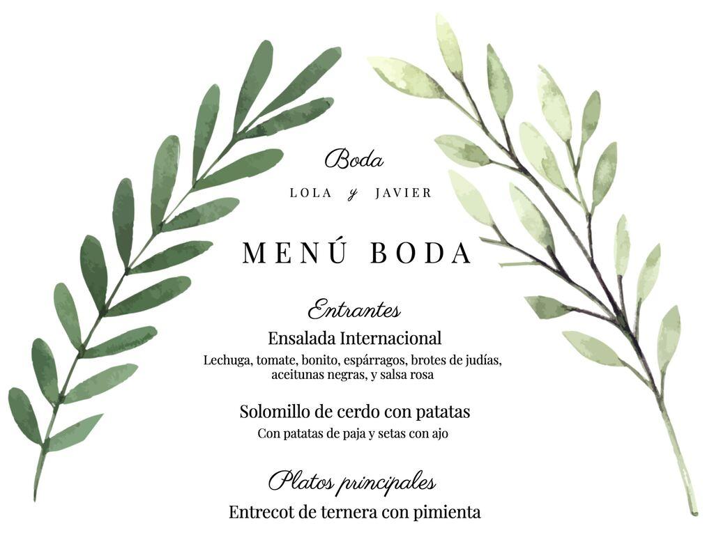 Plantillas de menús para bodas editables