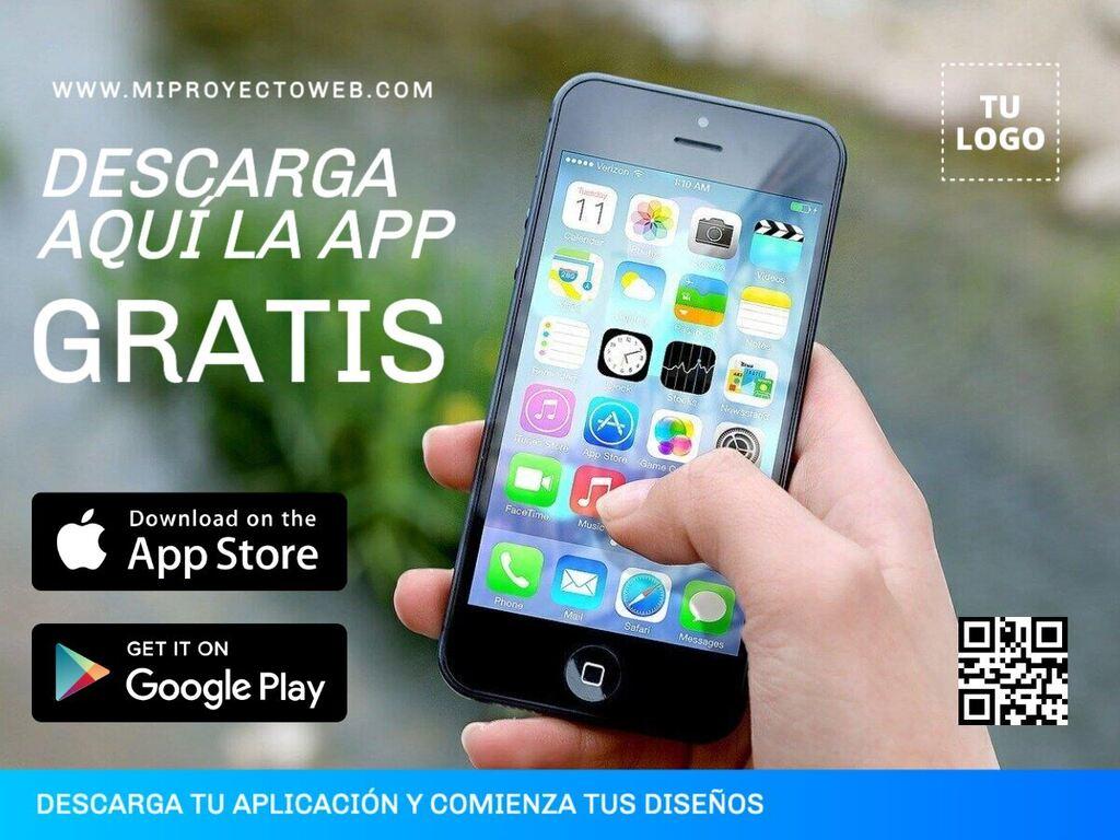 Diseños editables para promocionar una app