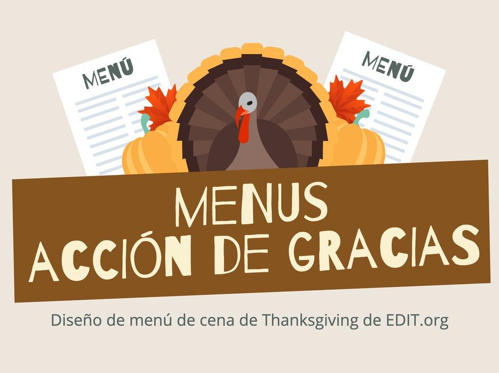 Edita un menú de Acción de Gracias
