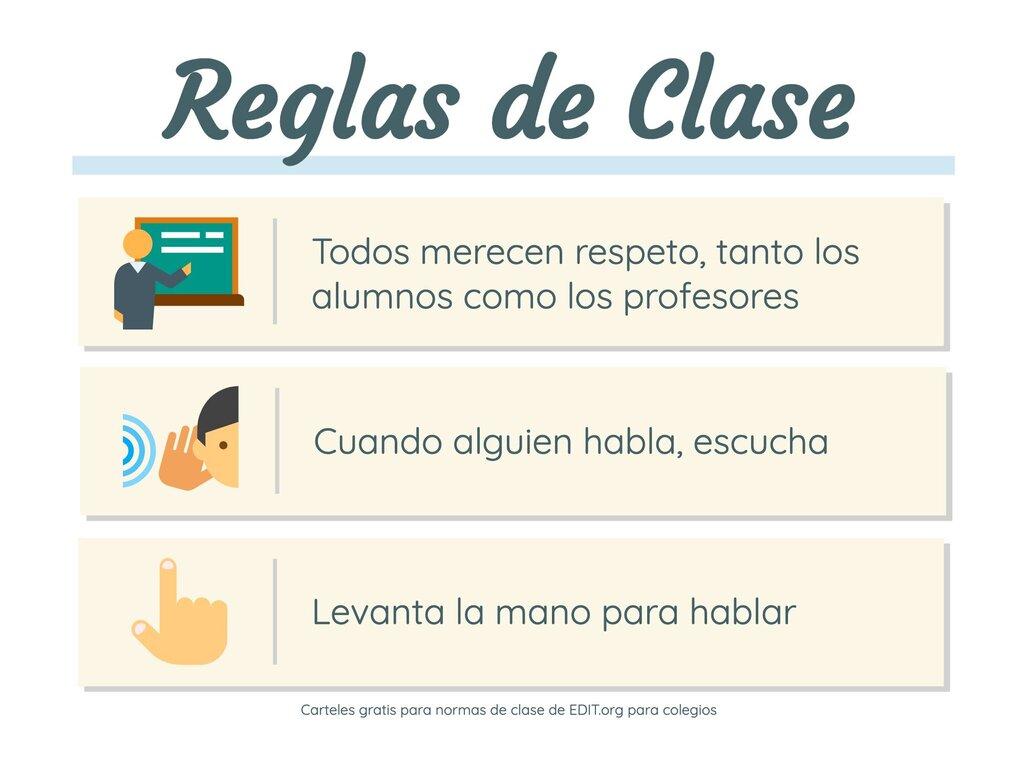 Edita un cartel de normas de clase