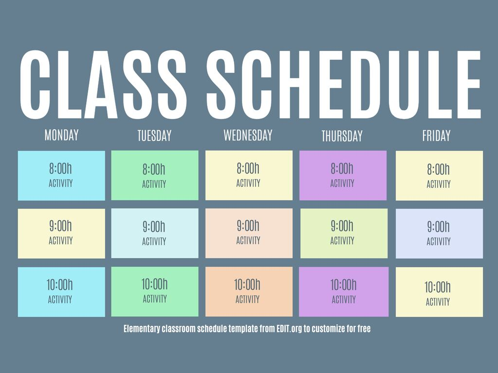 Online editable templates for school schedules