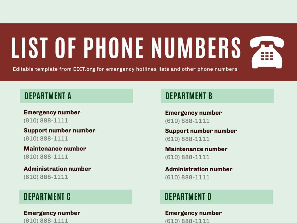 Edit a hotlines list template