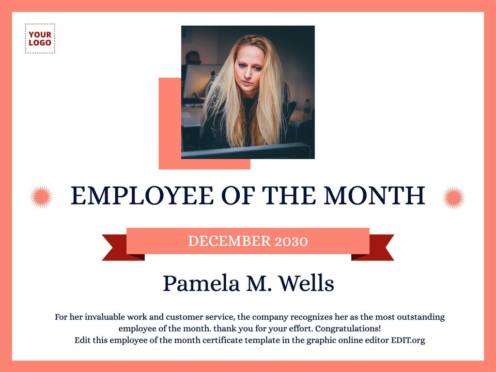 Edit an employee of the month poster