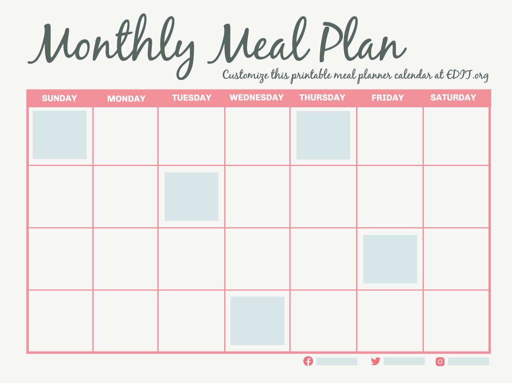 Edit a monthly meal plan