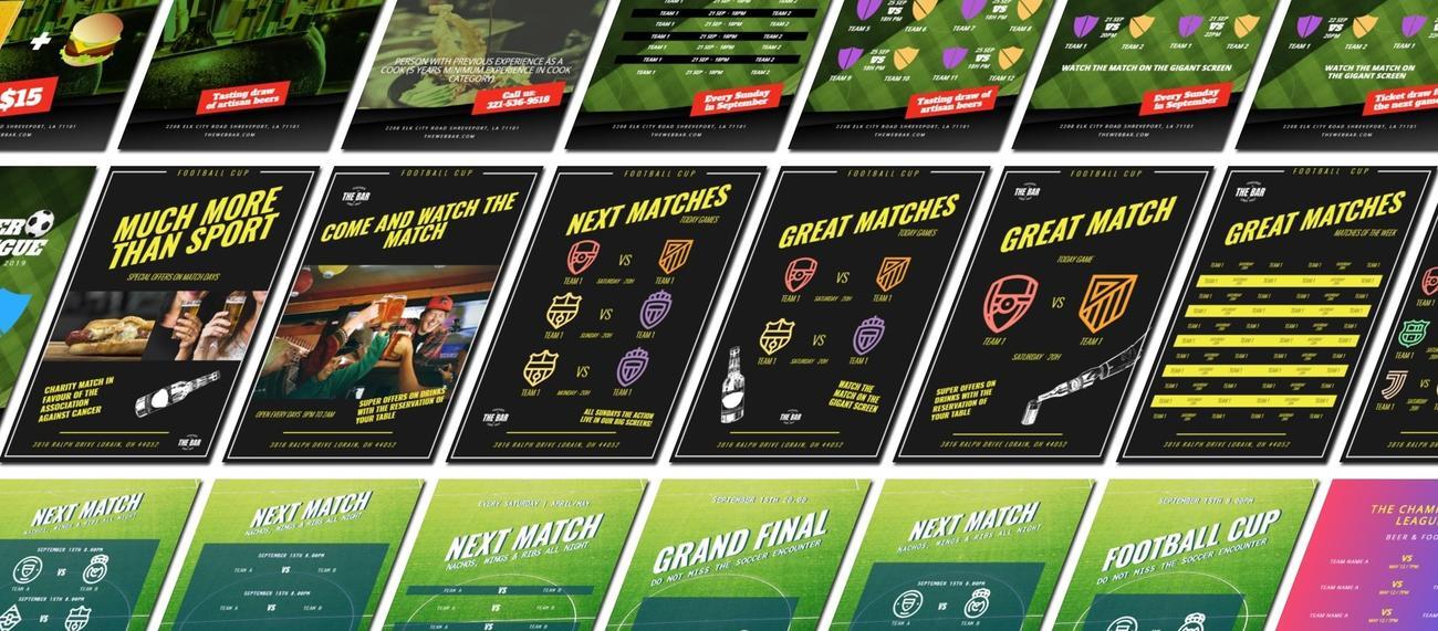 Carteles para promocionar partidos de fútbol en un bar