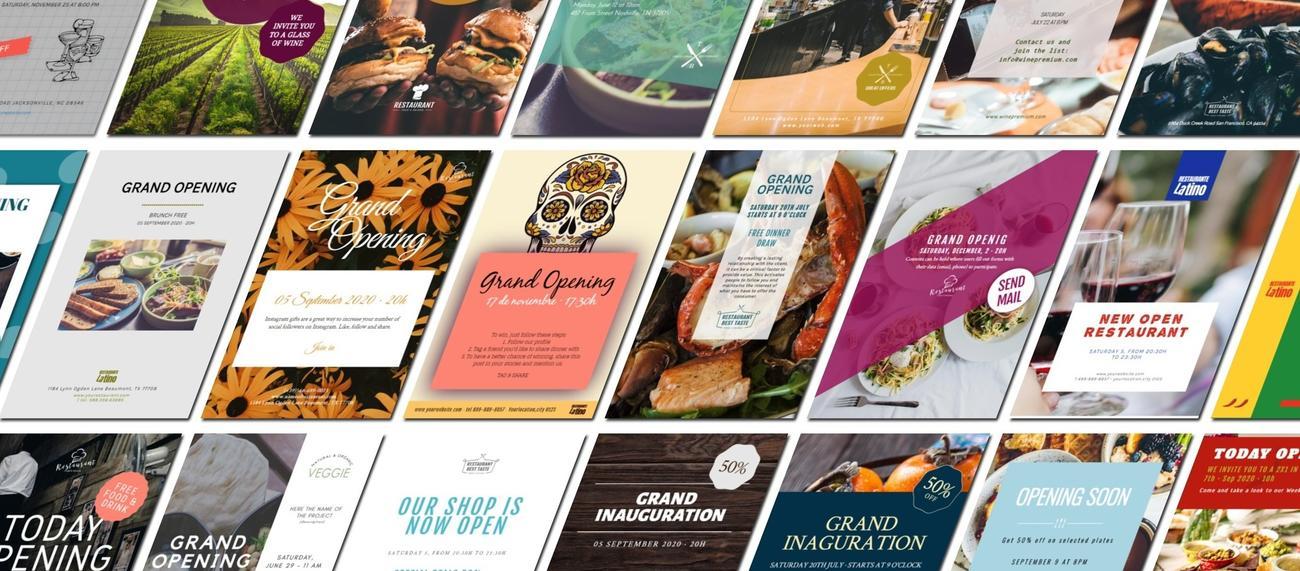 Diseños para promocionar la inauguración de un negocio