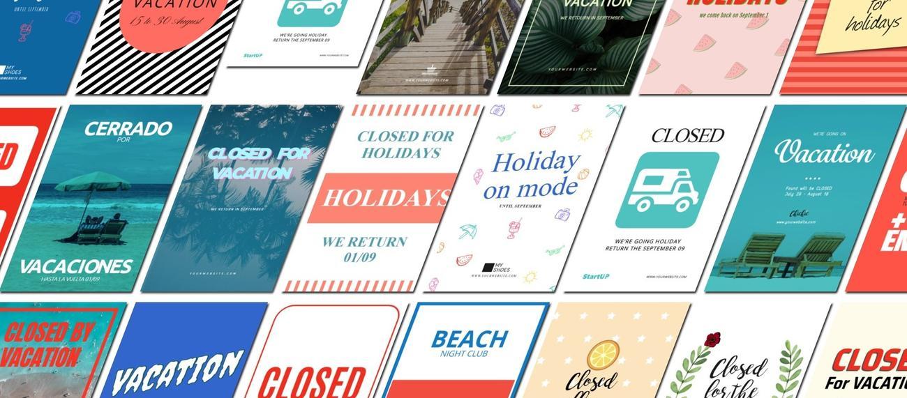 Plantillas de cerrado por vacaciones para imprimir