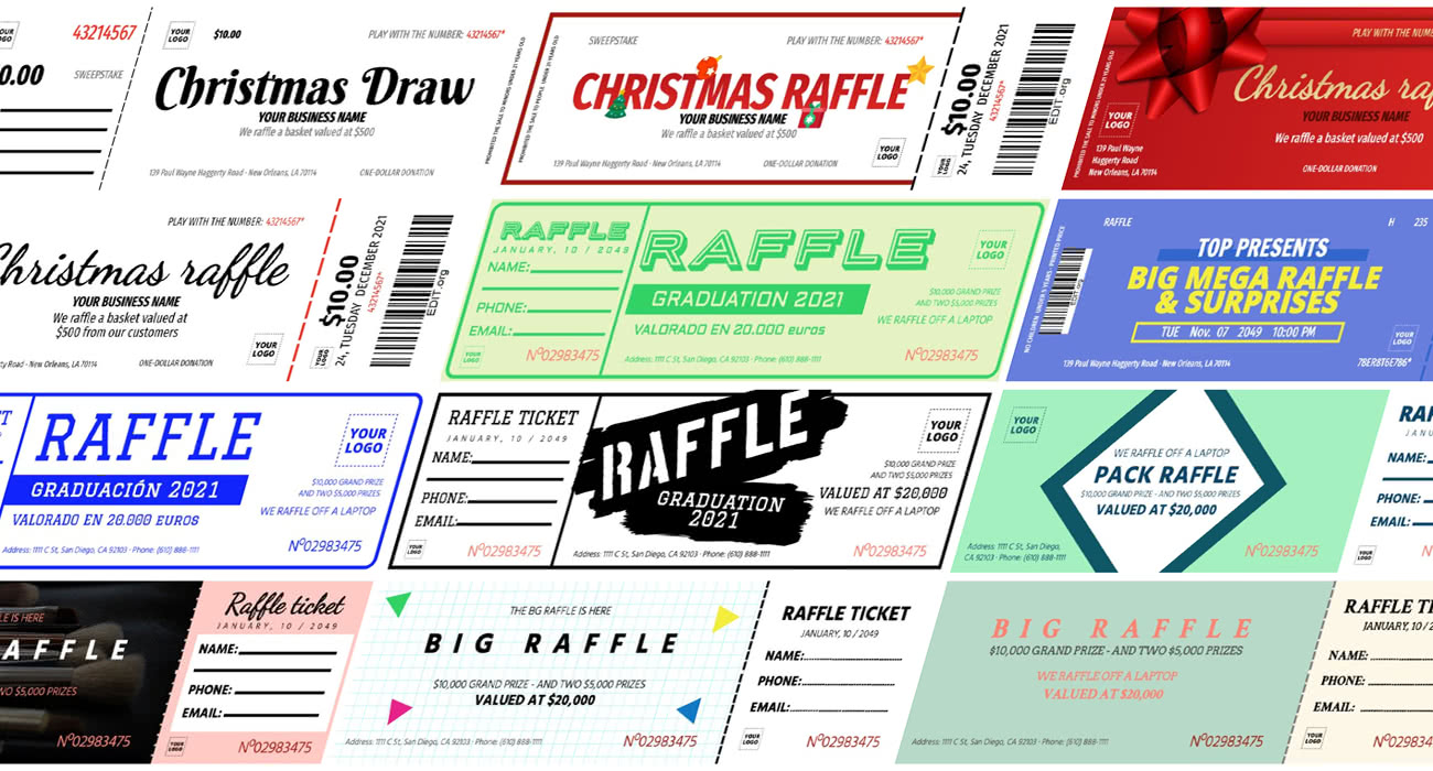 Edit a raffle ticket template